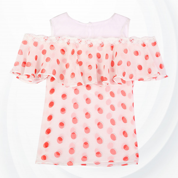 Net Cold Shoulder Lace Polka Dots Print Top - Red