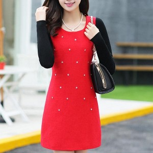 Woolen Long-sleeved Decorated Thick Women Dress - Red