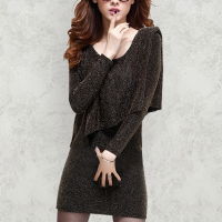 Shining Irregular Brown Slim Bodycon Mini Dress