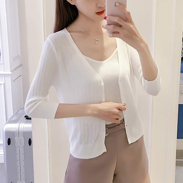 Ribbed Quarter Sleeves Spring Casual Cardigan - White