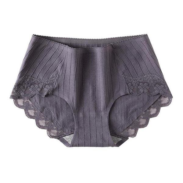 Pure Cotton Lace Antibacterial Crotch Underwear - Dark Gray