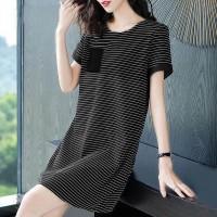 Printed Lining Round Neck Short Sleeves T-Shirt Dress
