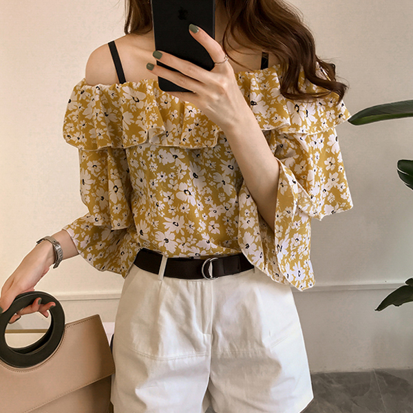 Flared Strap Shoulder Summer Wear Blouse Top - Yellow