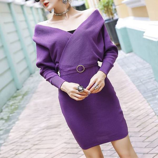 Bat Sleeved Belt Waist Plain Mini Dress - Purple