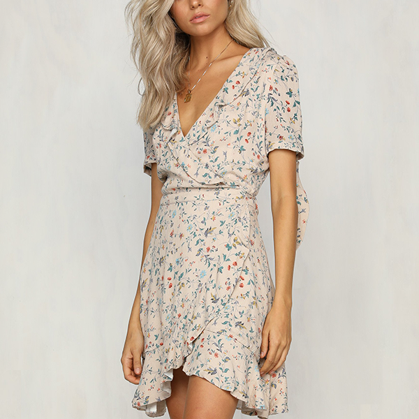 Floral Prints Deep V Neck Irregular Dress