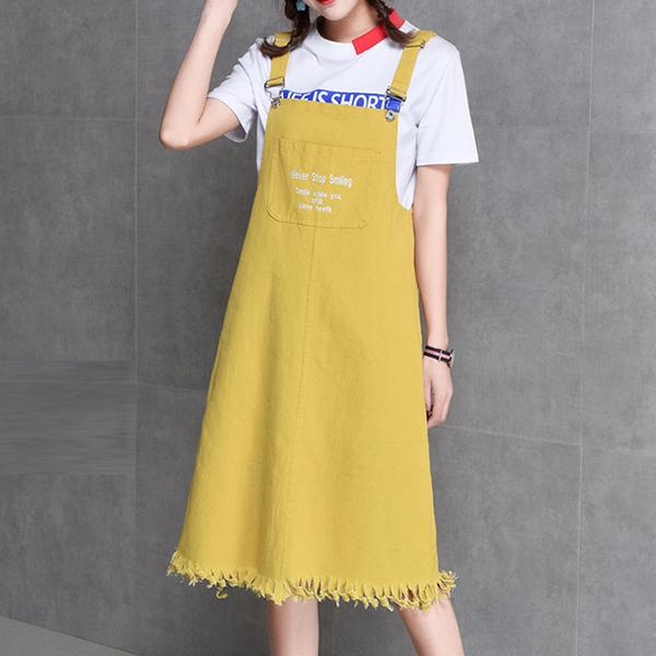 Beautiful Casual Denim Strap Skirts - Yellow