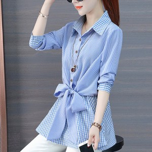 Shirt Collar Waist Belt Knotted Blouse Shirt - Blue