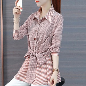 Shirt Collar Waist Belt Knotted Blouse Shirt - Pink