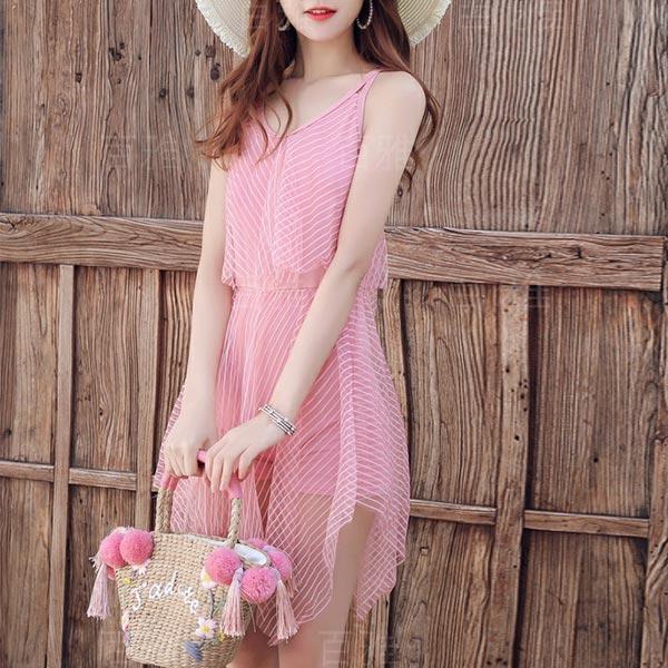 Cross Back Irregular Sleeveless Beachwear Dress - Pink