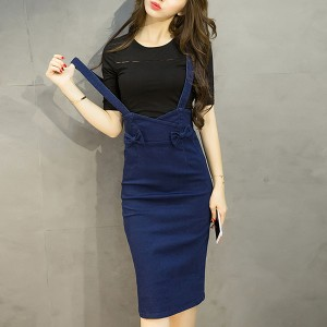 Bow Patch Solid Body Fitted Bib Pants - Dark Blue