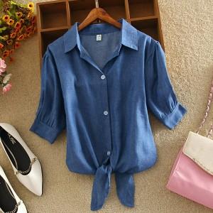Knotted Style Shirt Collar Mini Blouse Shirt - Dark Blue