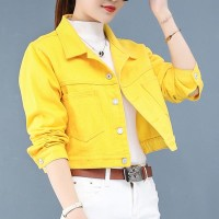 Short Fitted Shirt Collar Neck Ladies Jackets - Yellow
