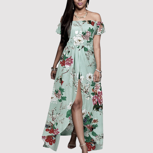 Split Floral Off Shoulder Maxi Romper - Sea Green