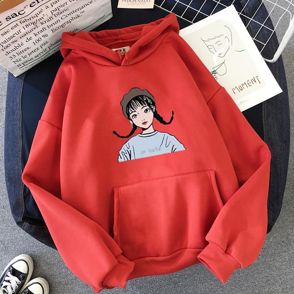 Girl Printed Baggy Belly Pocket Hoodie T-Shirt - Red