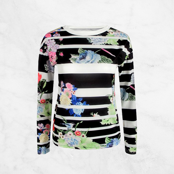 Black Striped Digital Floral Printed Top