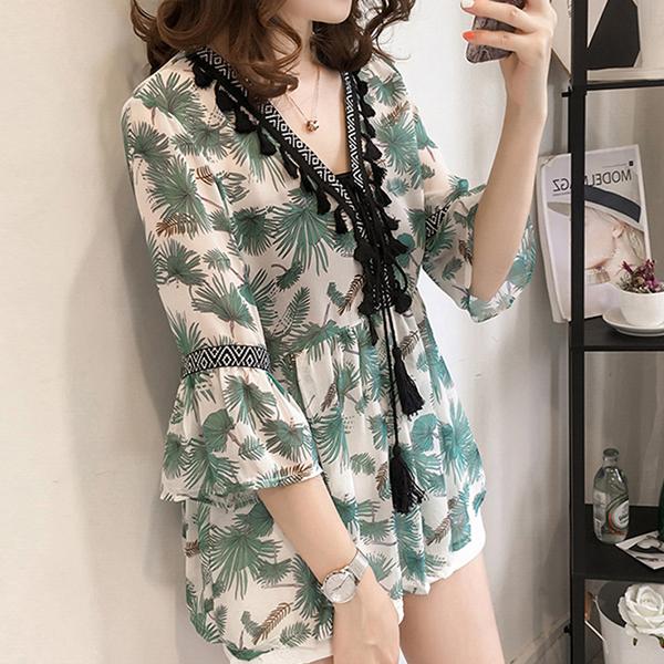 Floral Printed Waist String Mini Blouse Shirt - Green
