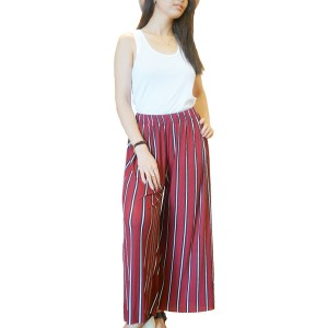 Red Striped Wide Leg Loose Pants Elastic Waist Bottoms