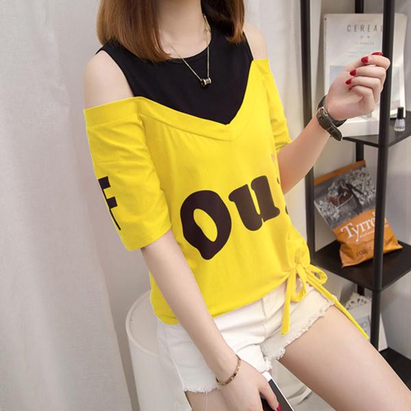 Printed Fake Neck Cold Shoulder Casual T-Shirt - Yellow