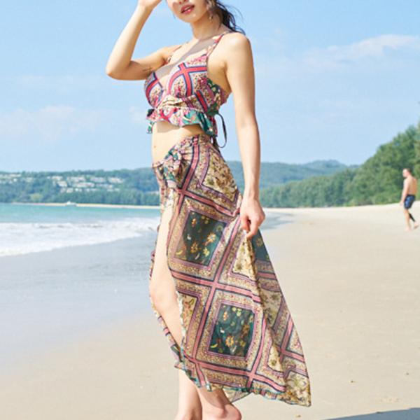 Bohemian Prints Three Piece Beach Wear Swimsuit - Multicolor