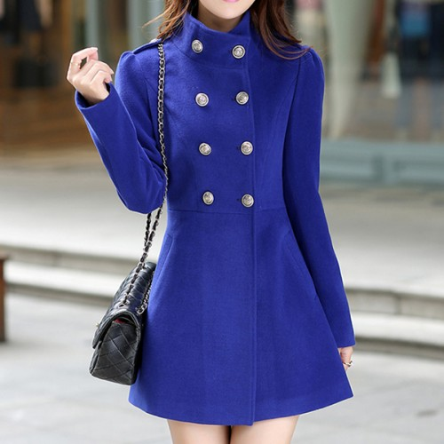 Beautiful  Long Sleeves Stand Collar Dual Button Coat - Blue