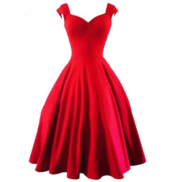 Sweetheart Neck Sleeveless Red Dress