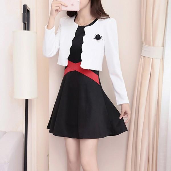Black Dress White Top Two Piece Dress - Black