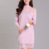 Floral Lace Patched Round Neck Mini Dress - Pink