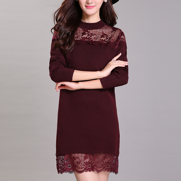 Floral Lace Patched Round Neck Mini Dress - Burgundy