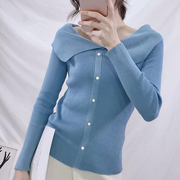 Doll Collar Pearl Decorative Casual T-Shirt - Blue
