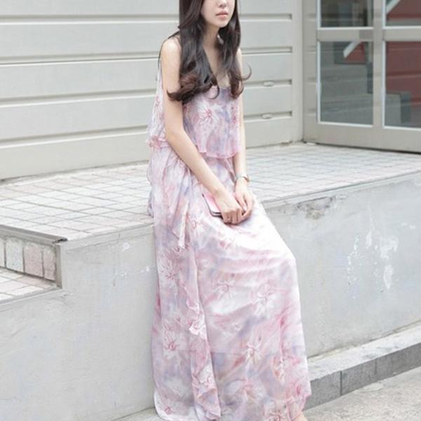 Chiffon Sleeveless Printed Beach Wear Long Dress