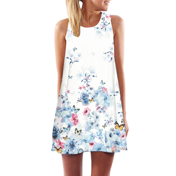 Floral Casual Cocktail Dress For Women Summer Digital Print
