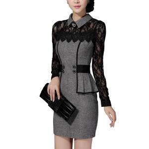 Winter Elegant Mini Dress Classical Lace Hip Skirt Dress Gray