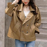 Pile Sleeves Decorative Elegant Style Leather Jackets - Khaki