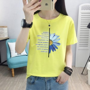 Flower Digital Prints Round Neck Short Sleeved T-Shirt - Yellow