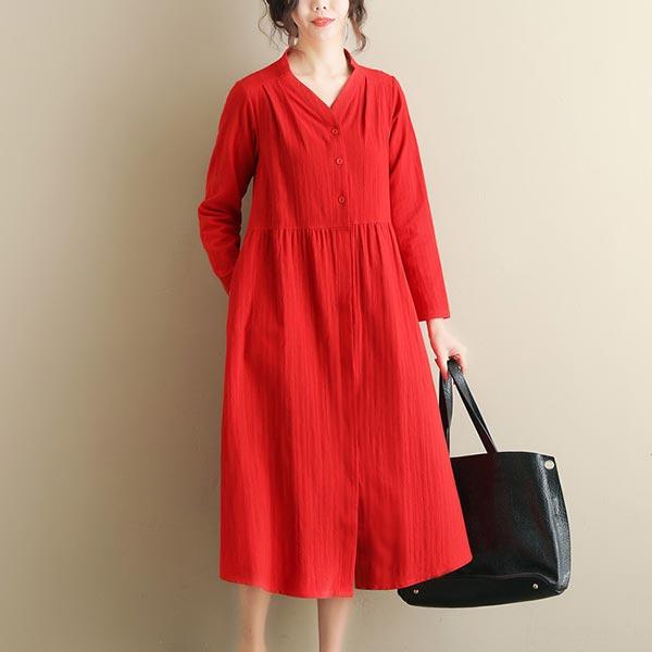 Linen V-neck Long Loose Solid Trench-coat Dress - Red