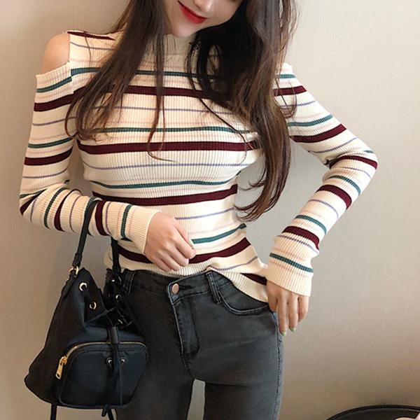 Cold Shoulder Full Sleeves Striped T-Shirt - Khaki