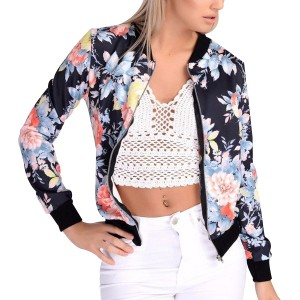 Women Jacket Long Sleeve Floral Print Slim Black Jacket