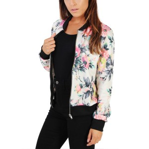 Women Jacket Long Sleeve Floral Print Slim White Jacket