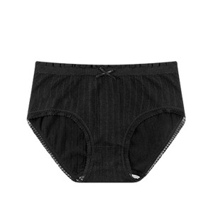 Seamless High Waist Triangle Anti Leakage Underwears - Black