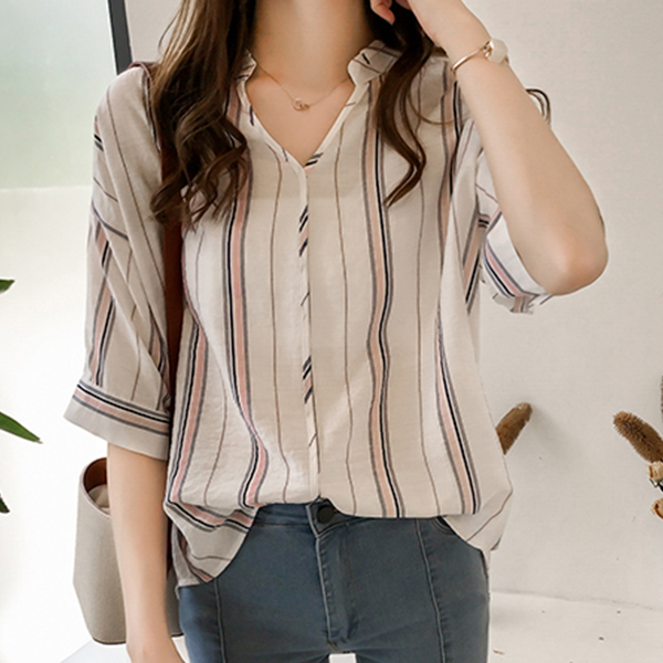 Half Sleeved Striped Office Blouse Shirt - Pink