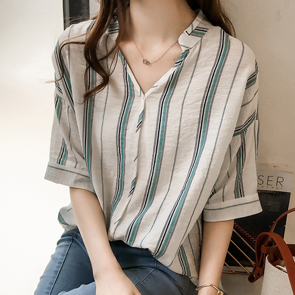 Half Sleeved Striped Office Blouse Shirt - Multi Color