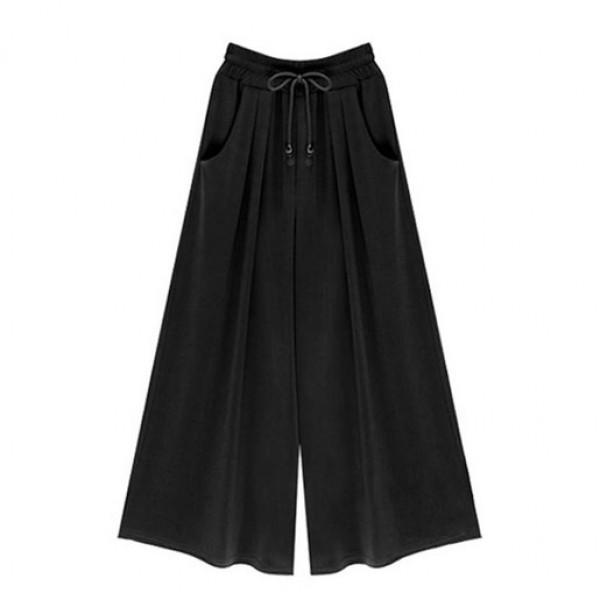 Chiara Black Wide Leg Drawstring Women Beach Pants