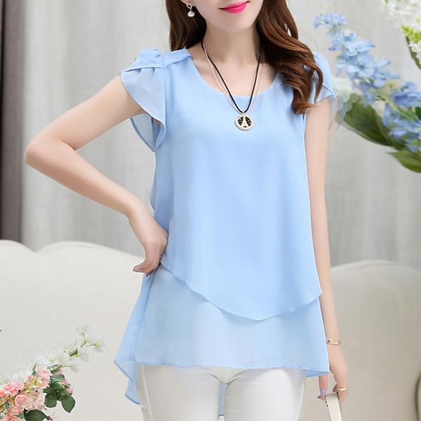 Chiffon Pleated Summer Wear Blouse Shirt - Sky Blue