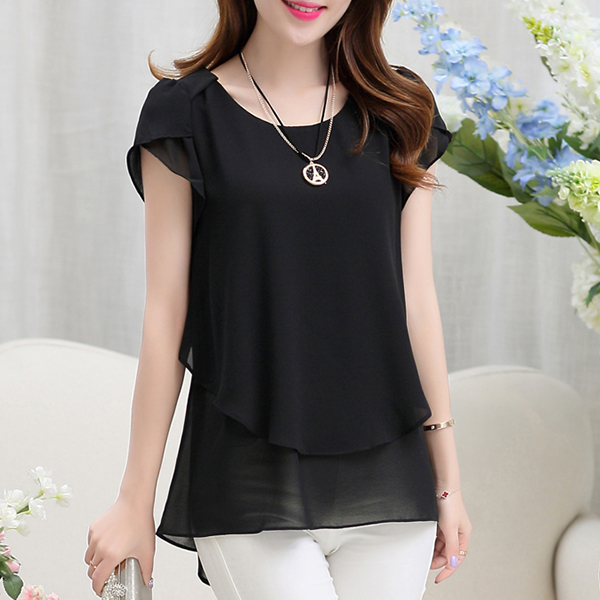 Chiffon Pleated Summer Wear Blouse Shirt - Black