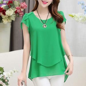 Chiffon Pleated Summer Wear Blouse Shirt - Green