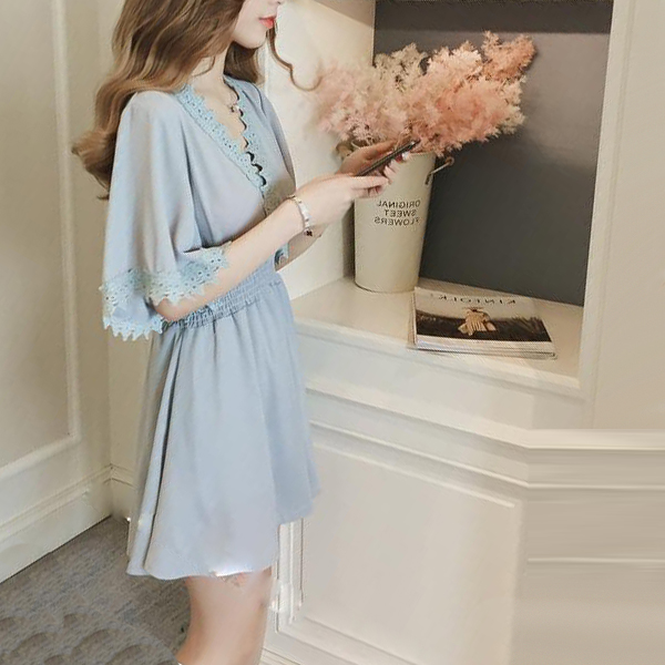 Collar Neck Office Wear Solid Color Mini Dress - Grey