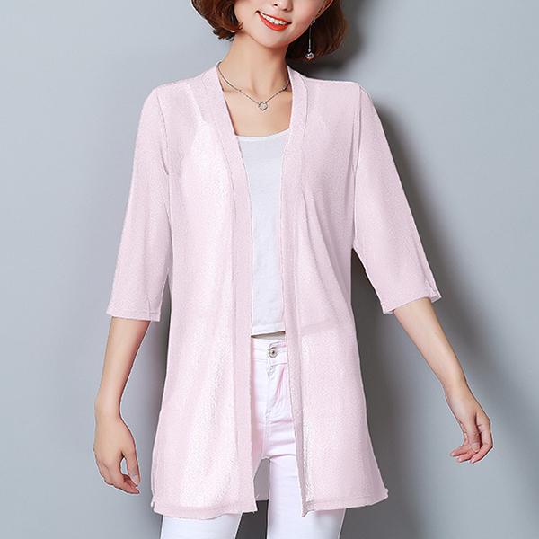 Shawl Neck Chiffon Light Summer Cardigan - Pink
