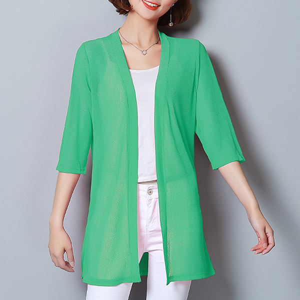 Shawl Neck Chiffon Light Summer Cardigan - Green