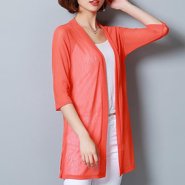 Shawl Neck Chiffon Light Summer Cardigan - Orange