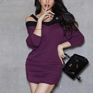 Off Shoulder Long Sleeve Hang Neck Female Dress - Purple